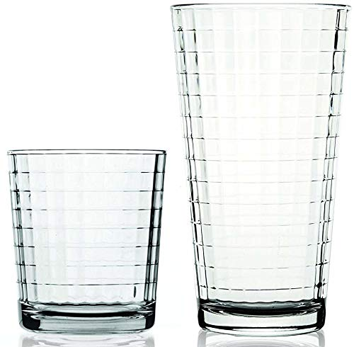 Circleware 40119 Huge 16-Piece Matrix Glassware Set of Highball Tumbler Drinking Glasses and Whiskey Cups, Home & Kitchen for Water, Beer, Juice, Ice Tea Bar Beverage, 8-15.75 oz & 8-12.5 ()