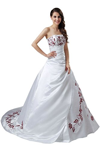 RohmBridal Women's Satin Red Embroidery Wedding Dress Bri...