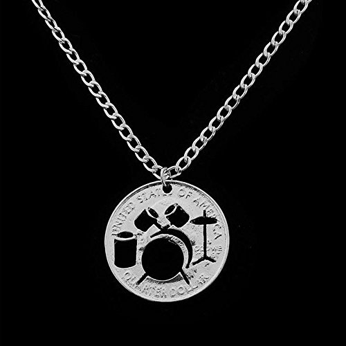 Hot Sale Creative Trendy Alloy Hollow Drums Necklace Gifts Coin Pendant Jewelry