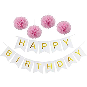 White Party decorations Happy Birthday Bunting 13 flags Banner,Set of 4 Pink Tissue Paper Pom Poms