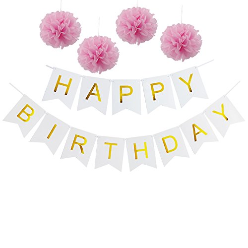 Cheapest Price! Pastels Party decorations Happy Birthday Bunting 13 flags Banner,Set of 4 Pink Tissu...
