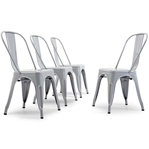 BELLEZE Vintage Style Metal Dining Chairs - Grey (Set of 4) Stackable Backrest Chair for Kitchen & Office