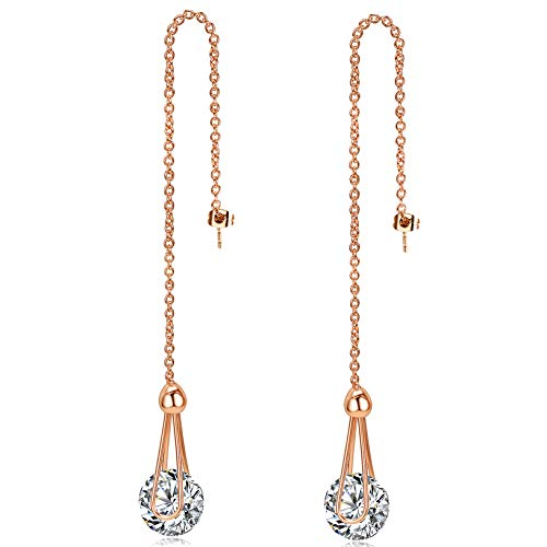 Vs1 Earring (Licliz 2ct Cubic Zirconia Long Dangle Earrings 18k Rose Gold Plated Threader earrings)