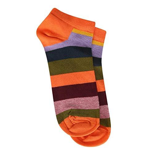 Meia Soquete Happy Socks Stripe Low Sock Feminina - Laranja - 34-38
