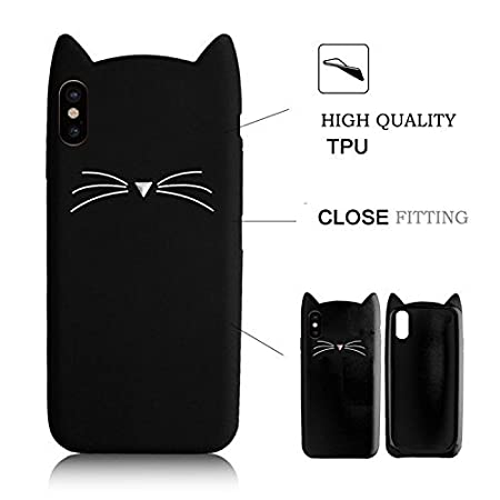 SevenPanda Silicone Cases for iPhone X/iPhone 10 5.8 inch, 3D Cat Design Cartoon Cute Cat Protective TPU Case with Anti Scratch Scratchproof Protective Shockproof Case - Black IPX-HuXuMao-Hei