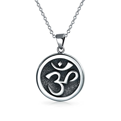 Aum Om Ohm Sanskrit Symbol Yoga Medallion Pendant For Women For Men Necklace Circle Disc Oxidized 925 Silver 18 Inch