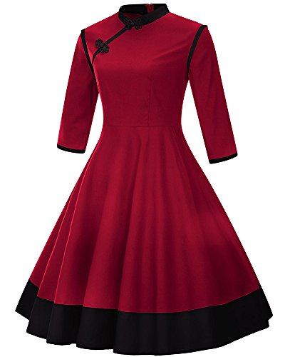 Robes Demi Style Cocktail Taille De Chinois manche Zipper Femmes Col Plisses Grande De Rouge vaApEwq