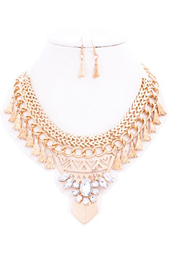 {CN01033 StyleNo1} WOMEN'S FASHIONABLE FLAT CHAIN W RHINESTONE AND CHARMS NECKLACE AND EARRINGS SET – Designed In USA