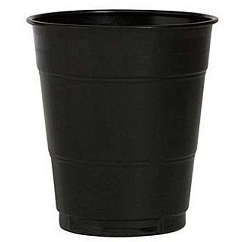 12 oz Black Plastic Cups, 20 Pack