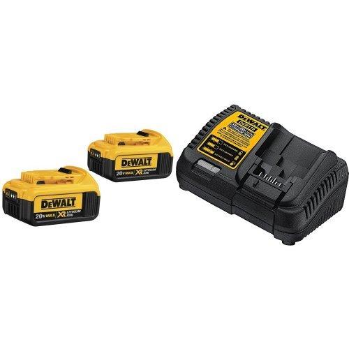 DEWALT DCB204-2 20V Max Premium XR Li-Ion Battery, 2-Pack  with DCB115 MAX Lithium Ion Battery Charger, 12V-20V by DEWALT