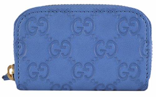 Gucci Women's Blue Leather GG Guccissima Mini Zip Around Coin Purse