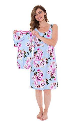 Baby Be Mine Maternity/Nursing Nightgown & Matching Baby Layette Set, Newborn, Nightdress, (Small pre pre Pregnancy 4-6, Isla)