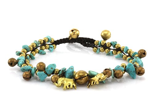 MGD, Blue Turquoise Color Bead and Brass Bell Anklet, Handmade Brass Elephant Anklet, Fashion Jewelry For Women, Teens and Girls, JB-0200A