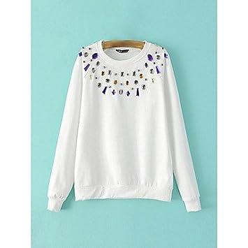 Mujer Camisas y blusas de mujer Casual/Diario simple Sudaderas con capucha Lunares Blanco/Negro/Gray algodón, color Blanco - blanco, tamaño L: Amazon.es: ...