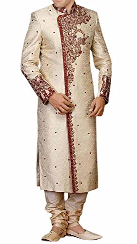INMONARCH Mens Superb Exclusive Designer Wedding Sherwani SH165 40R Cream