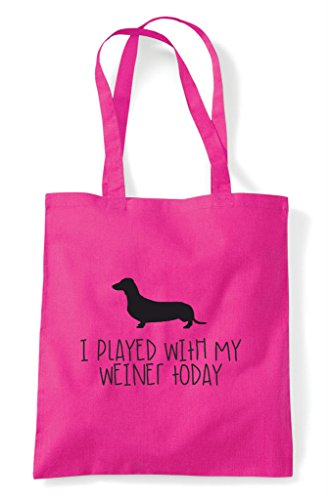 Parody Fuschia Weiner With Played Shopper Today I Funny Tote My Sausage Dog Bag Fw40BFqx1