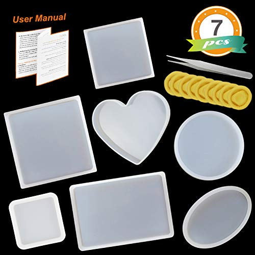 LET'S RESIN Silicone Resin Molds 7pcs Resin Casting Molds including Round, Square, Rectangle, Ellipse, Heart Coaster Molds, Epoxy Resin Molds for DIY Coasters, Home Decoration & Christmas Gift - Paperweight Casting Mold