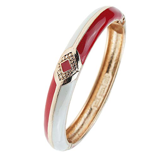 UJOY Cloisonne Bracelet Colorful Cloisonne Design Gold Plated Hinge Enamel Bangle Jewelry for Women Girls 55A41 Knot White-red ()