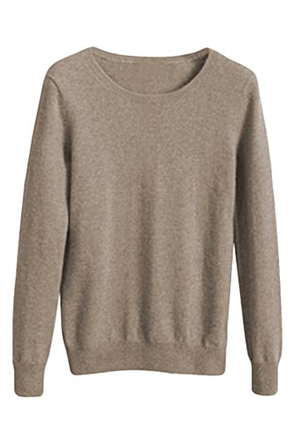 Viottiset Women's Crewneck Cashmere Wool Long Sleeve Pullover Sweater Khaki M
