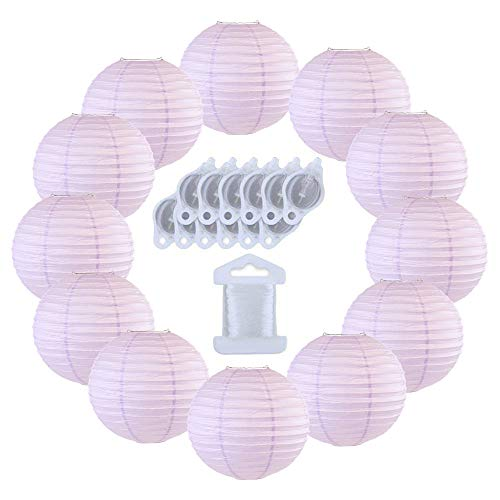 Just Artifacts 12inch Decorative Round Chinese Paper Lanterns 10pcs w/ 12pc LED Lights and Clear String (Color: Lavender)