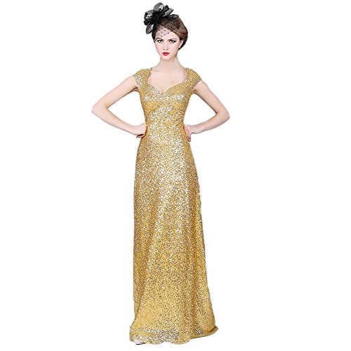 VogueZone009 Womens Cap Sleeve Sequins V-Neck Formal Dresses with Flower, Gold, 16 by VogueZone009
