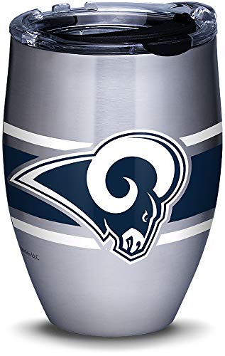 (Tervis 1317552 NFL Los Angeles Rams Stripes Insulated Travel Tumbler with Lid 12oz - Stainless Steel Silver)