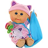 "Cabbage Patch Kids 12.5"" Naptime Babies - Bald/Blue Eye Girl Baby Doll (Pink Stripe Jumper Fashion)"