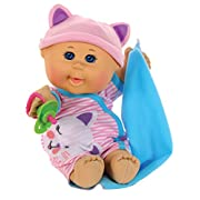 Cabbage Patch Kids 12.5  Naptime Babies - Bald/Blue Eye Girl Baby Doll (Pink Stripe Jumper Fashion)