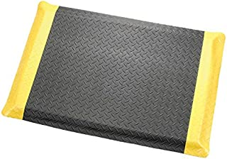 "product image for Apache Mills Diamond Plate Ergonomic Mat, 36""X60"", Black/Yellow Border"