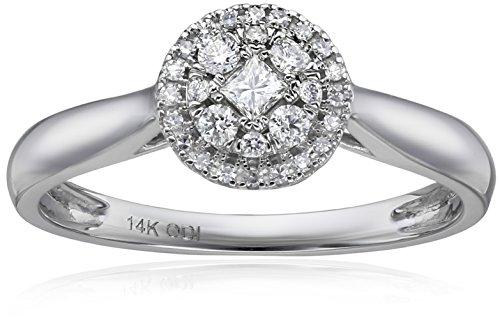IGI Certificado Round Shaped Galaxy Anillo de compromiso de diamantes de oro blanco de 14K (1/4cttw, color h-i,...