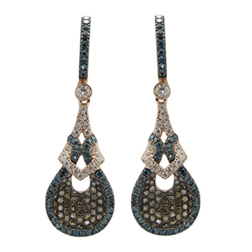 Brand New 1.62 Carat Round Blue Color Diamond, Natural Brown & White Diamond Drop Earring , 14k Rose Gold by Prism Jewel