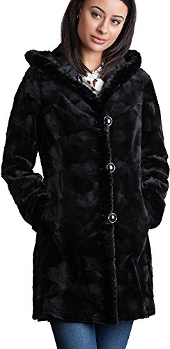 Overland Sheepskin Co Betsy Reversible Hooded Mink Fur Coat (Coat Overland Reversible)