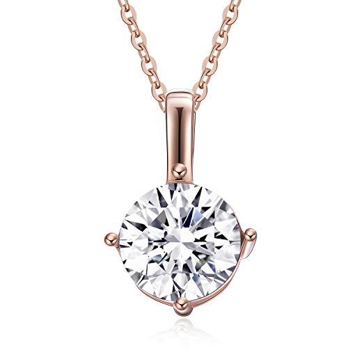 (Fonsalette Round Cut Cubic Zirconia Necklace Solitaire Pendant Necklace for Women Swarovski Crystal Necklace Rose Gold Necklace for Girls (Rose Gold))