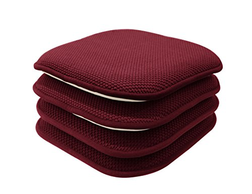 GoodGram 4 Pack Non Slip Honeycomb Premium Comfort Memory Foam Chair Pads/Cushions - Assorted Colors (Burgundy)