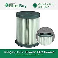 Hoover Elite Rewind Dust Cup Filter, Part # 59157055. Designed by FilterBuy to fit ALL Hoover Elite Rewind Upright Bagless Vacuum Cleaners