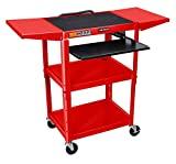 LUXOR AVJ42KBDL-RD Adjustable Height Drop Leaf AV Cart, 42'' H x 24'' W x 18'' D, Red