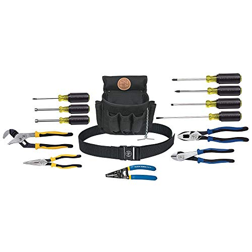 Klein Tools 92914 Tool Kit, Tool Set Includes Basic Tools, Pouch and Belt for Journeyman, Linesman, Professionals and…