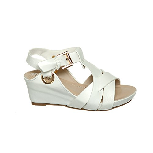 Girls' Strappy Gladiator Low Platform Wedge Sandals(1, (Faux Leather Strappy Heel Wedge)