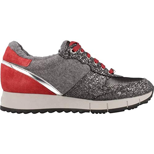 Fur LIU Gris Red Gigi JO Mujeres Zapatos Cow Rojo Glitter Net Sneakers Running Grey Suede gfwTf7