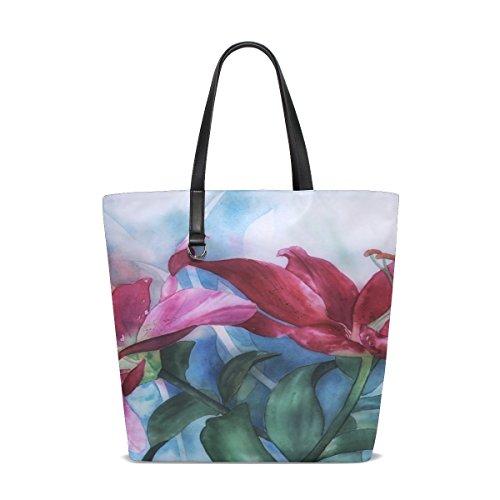 Dnoving Women Watercolour Lilies Paint Greeting Card Greeting Handle Satchel Handbags Shoulder Bag Tote Purse Messenger Bags