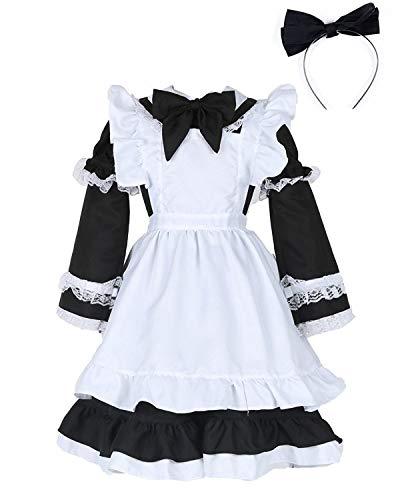 Sinastar Kids' Maid Dress Children's Halloween Costume Maid Uniform For Little Girls ()
