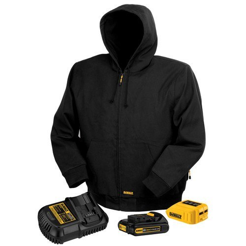 DEWALT DCHJ061C1-S 20V/12V MAX Black Hooded Heated Jacket Kit, Small (Heated Jacket)