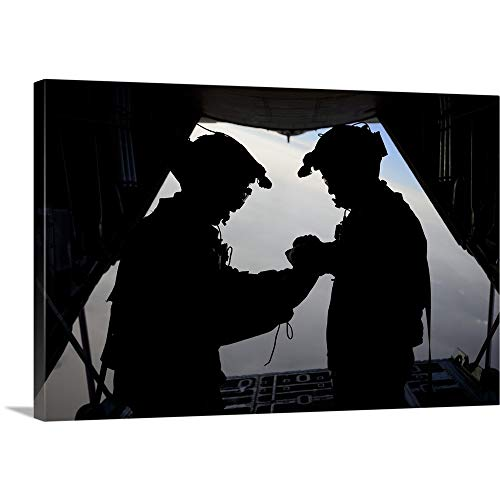 GREATBIGCANVAS Gallery-Wrapped Canvas Entitled U.S. Air Force loadmasters fold The American Flag Aboard an HC-130 Hercules by Stocktrek Images 18