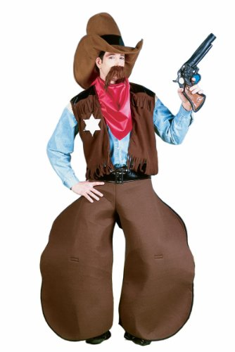 Men's Old Cowhand Costume, Brown/Red, One Size - Adult Cowboy Halloween Costumes