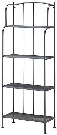 Ikea LÄCKÖ - Estantería (muebles de jardín de material fácil de limpiar), color gris: Amazon.es: Hogar
