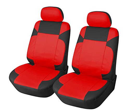 Red Hyundai Sonata (115304 Black/red-leather Like 2 Front Car Seat Covers Compatible to HYUNDAI ACCENT SONATA HYBRID SONATA PLUG-IN TUCSON FUEL CELL 2017-2007)