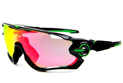 Queshark TR90 Frame Polarized Cycling Sunglasses For Men Women Sports 3 Lens (Black Green, 3 - Tr90 Sunglasses