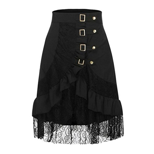 Hot Sale! Womens Vintage Steampunk Goth Lace Party Skirt Front Button High Low Party Skirt (Black, -