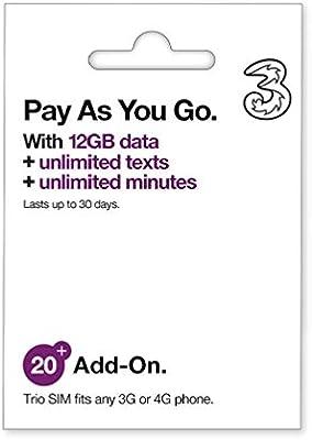 Tarjeta SIM Three Bono20 - 12GB + 3000MINS + 3000SMS (A usar ...