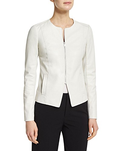 (World Of Leather Women's Lambskin Genuine Leather Jacket Short Blazer Casual Wear (XL, White))
